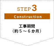 STEP3 Construction 工事期間(約5~6か月)